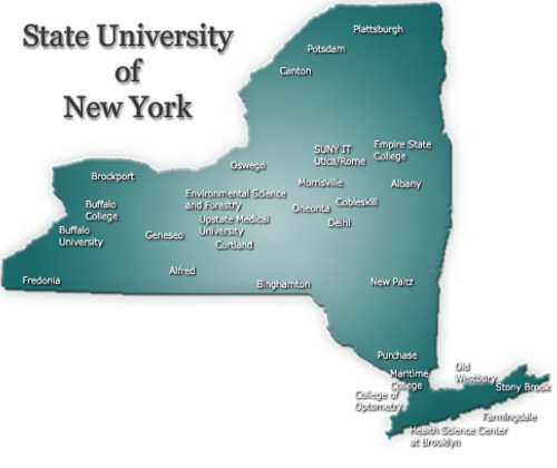 Map of New York State with SUNY schools listed